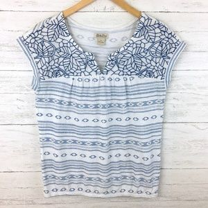 Lucky Brand Women's White and Blue Print Top